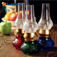 LumiParty LED Night Light Retro Blowing Control Kerosene Lamp USB Rechargeable Flameless Candle Lantern Dimmer Control