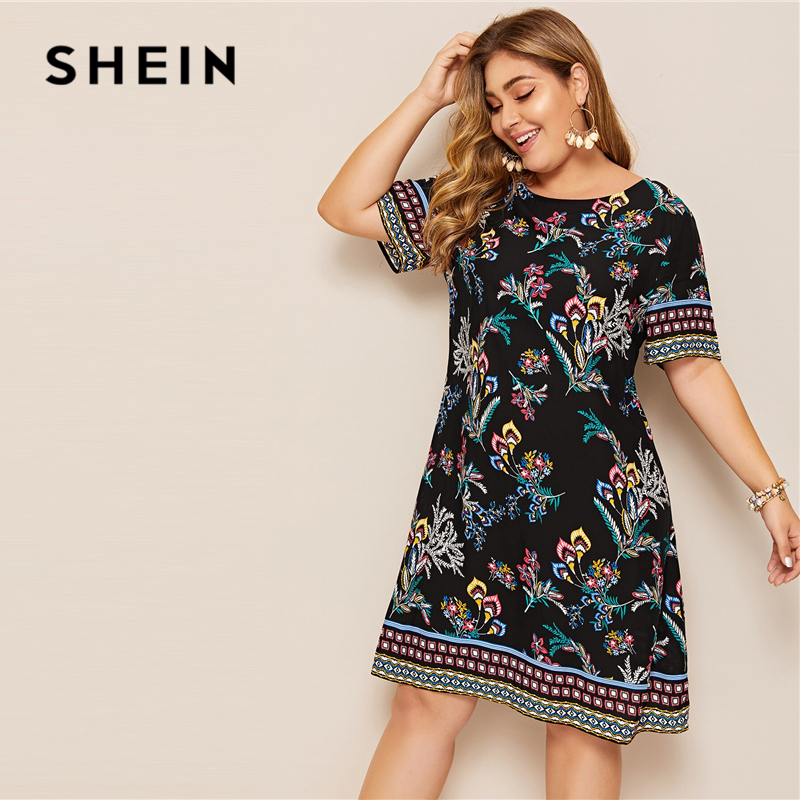 SHEIN Plus Size Tribal And Botanical Print Boho Dress 2019 Women Summer Tunic Short Sleeve Straight Shift Geometric Midi Dresses