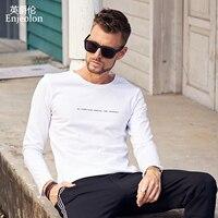 Enjeolon marka kalite o boyun uzun kollu t gömlek adam pamuk 2 renk kelimeler baskı taban Giyim Üstleri Tee ücretsiz gemi RST7137-1