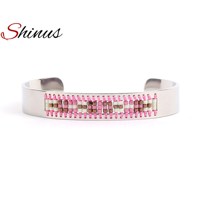 da26e63d90b Shinus Bangle Bracelets Women Jewelry Bracelet Men Femme Love Cuff  Stainless Steel Couple Miyuki Seed Beads
