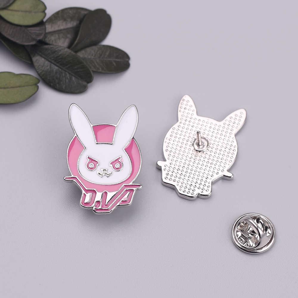 D. Va Dva Konijn Bunny Logo Metalen Pin Badge Roze Diva Bunny Harde Emaille Pin Broche Voor Gamers Cosplay Prop Kostuum accessoire