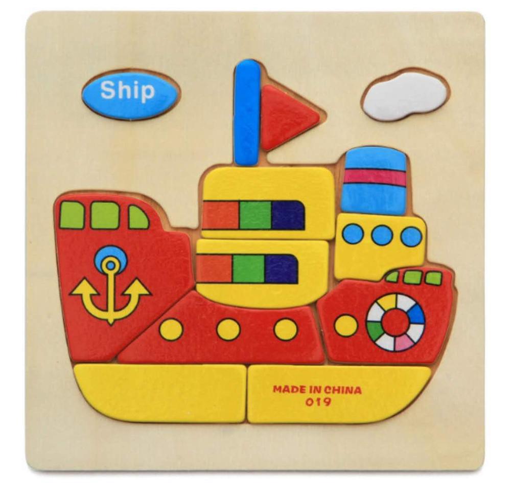 3D деревянные головоломки, игрушки для детей, Деревянные 3d Мультяшные головоломки с животными, интеллектуальные детские развивающие игрушки для детей - Цвет: Лиловый