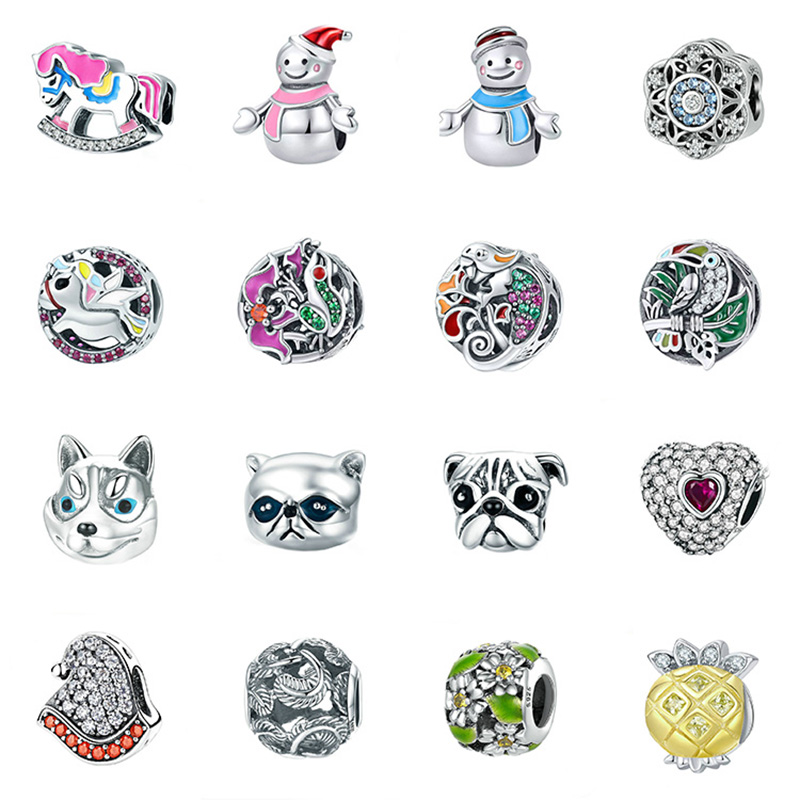 Iinbeaut 100% 925 Sterling Silver Colorful Childhood Memory Pink Swing Trojan Horse Charm Beads Fit Original Bracelet Children Beads & Jewelry Making Beads