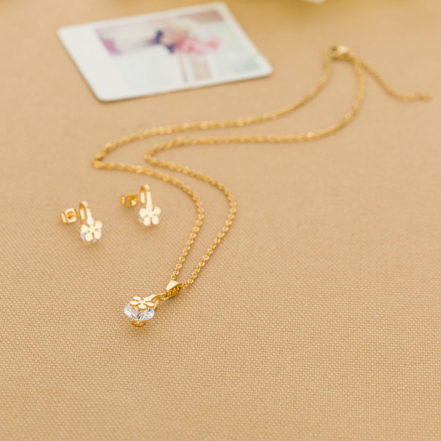 Gold 316L Stainless Crystal Jewelry Sets