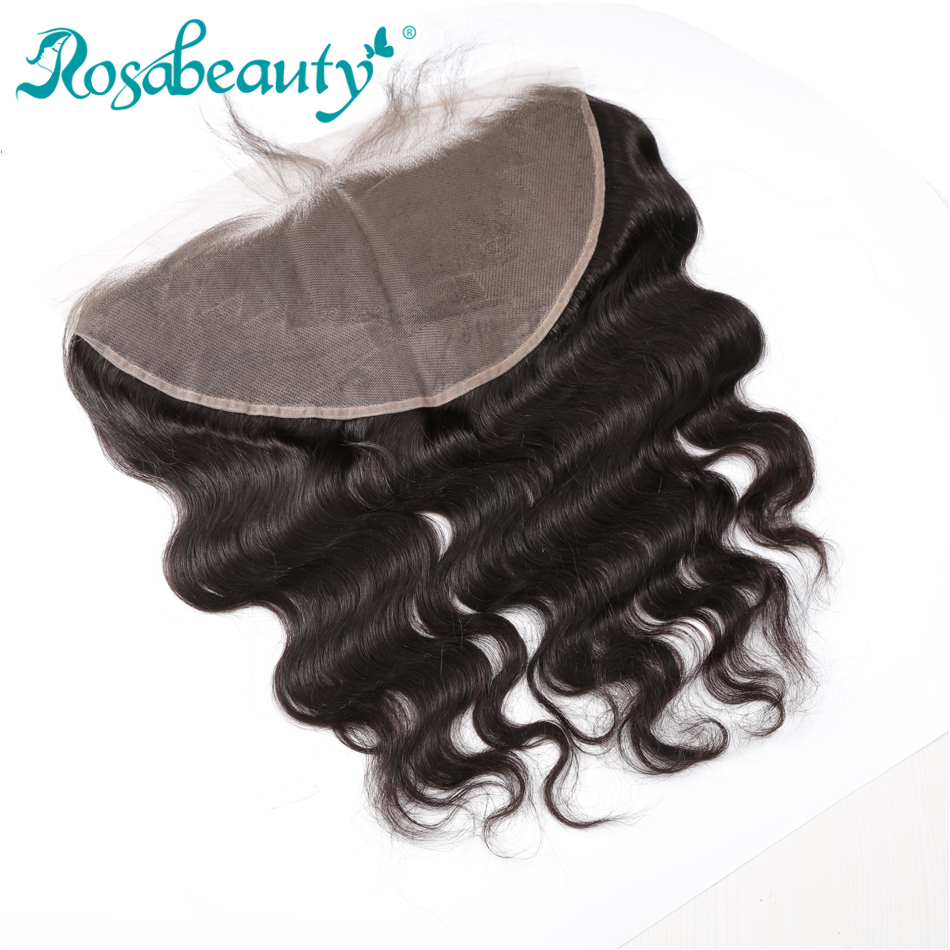 Rosabeauty Body wave Brazilian Hair Lace Frontal 13X6 Ear to Ear Free Part Lace Closure 1