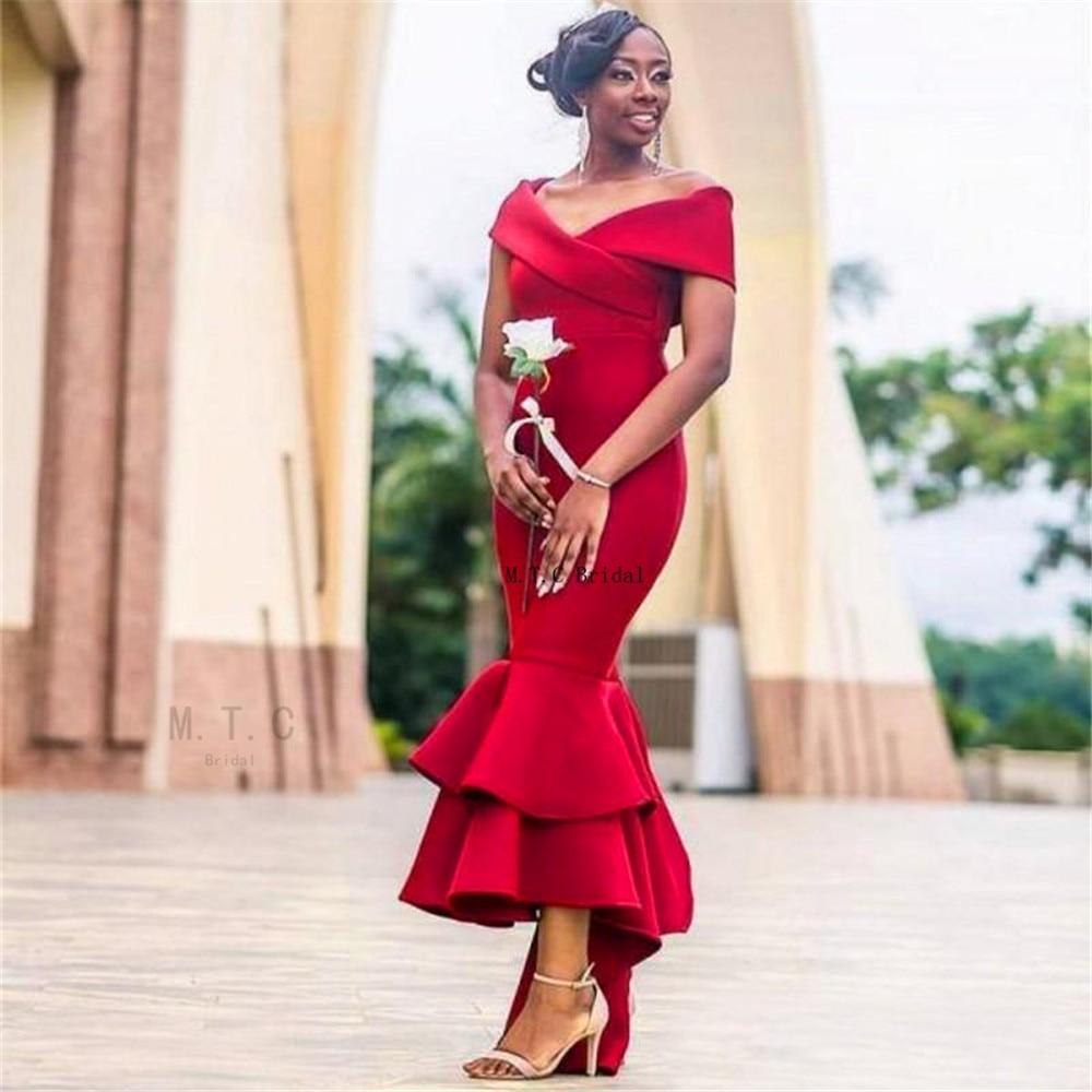 Elegant Red Mermaid Long   Bridesmaid     Dresses   2019 Off The Shoulder Tea Length African Maid Of Honor   Dress   Cheap Robe De Soiree