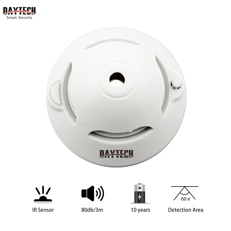 DAYTECH Wireless Smoke Detector Fire Sensor Alarm Alert Photoelectric Smoke Detector Built In 10 Years Lithium Battery