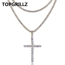 TOPGRILLZ Hip Hop Cross Pendant Necklace All Iced out Two Tennis Chains Micro Pave AAAA+ Cubic Zirconia Prayer Men's Necklace
