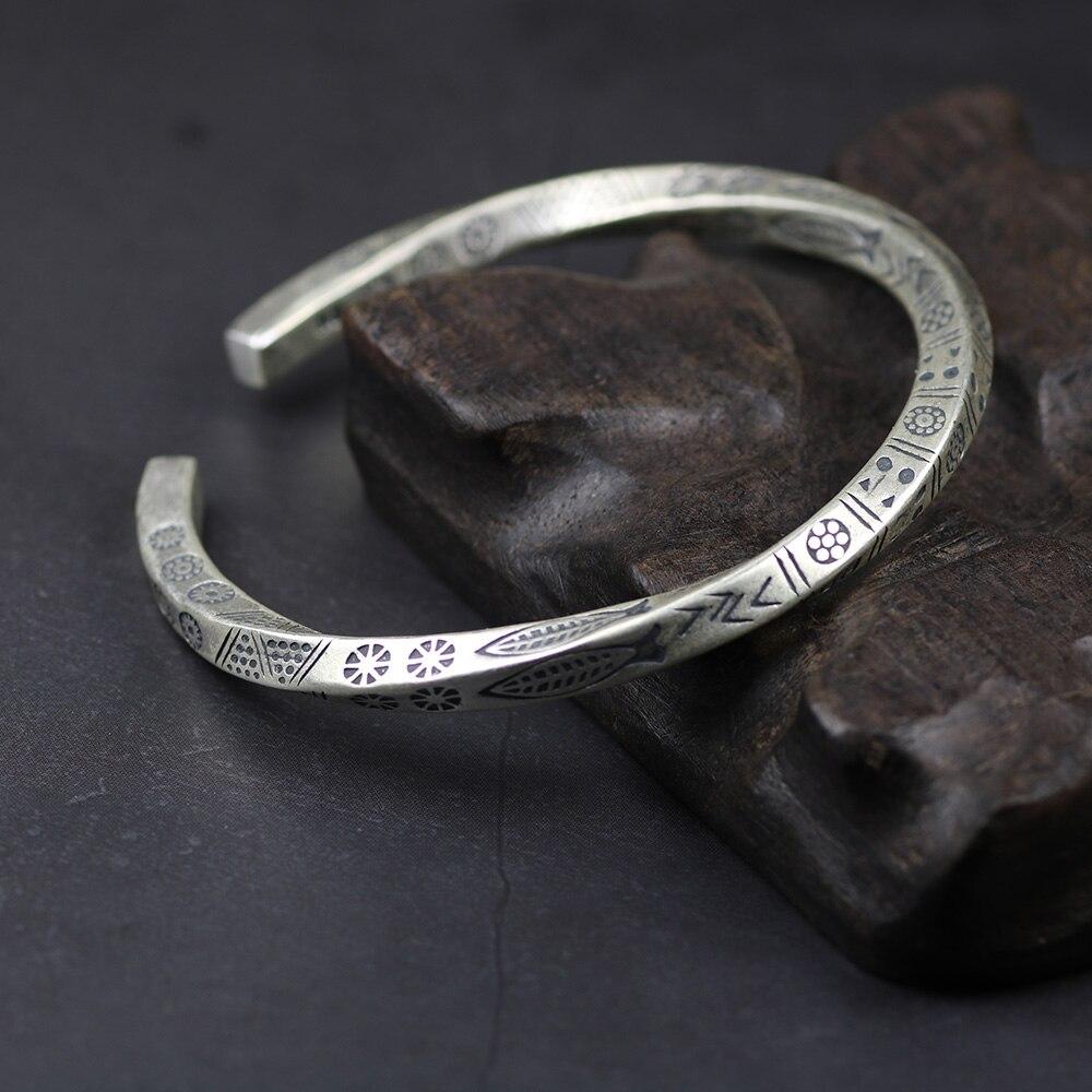 Vintage réel solide 925 en argent Sterling poisson manchette bracelets pour femmes et hommes torsadé Type brassard homme bijoux de mode