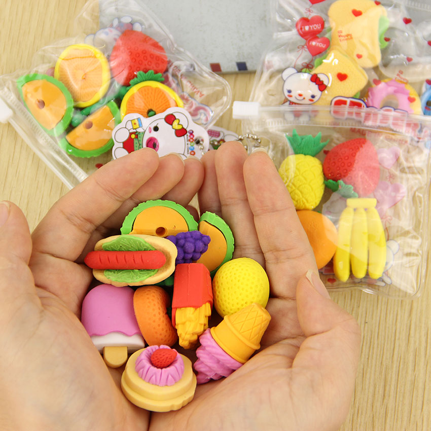 1 Lot Novelty Big Fruit Cuisine Shape Eraser Rubber Eraser Primary School Student Prizes Promotional Gift Stationery