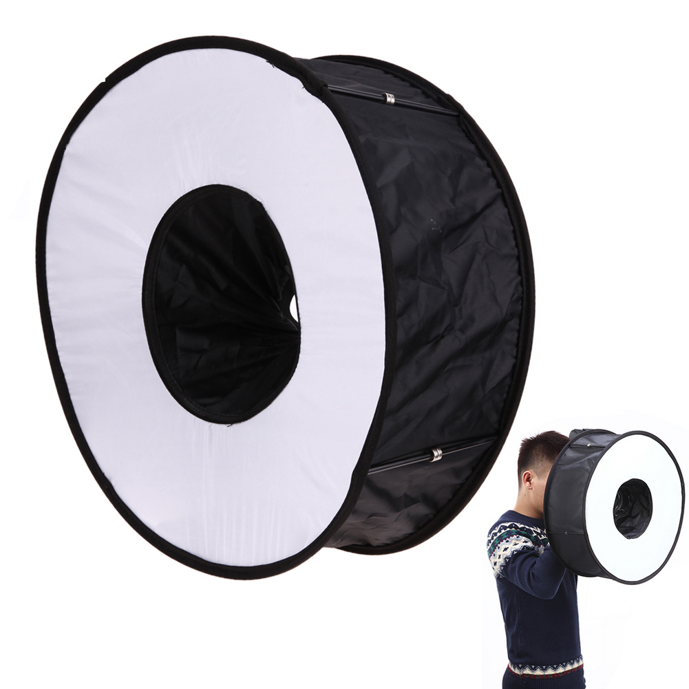 Anillo Softbox speedlite Softbox flash 45 cm plegable difusor anillo flash caja suave para Canon Nikon speedlight