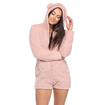 2019 Warm Pajama Adults Autumn Winter Hooded Rabbit Ear Fleece Onesie Women Velvet Sleepwear Short Jumpsuit Pajamas Female6Q2251 pajamas