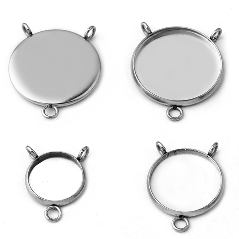 10pcs Stainless Steel Jewelry Cabochon Base Setting 8MM-25MM Pendant Tray Charm Making