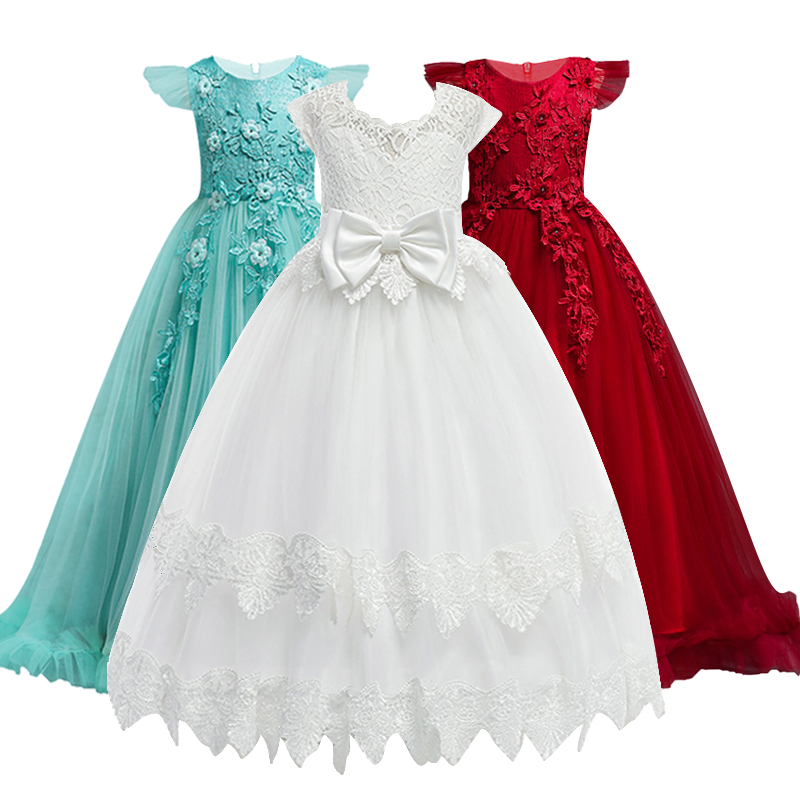 4-14Y Lace Teenagers Kids Girls Wedding Long Dress elegant Princess Party Pageant Christmas Formal Sleeveless Dress Clothes lace teenagers kids girls wedding long girl dress elegant princess party pageant formal dress sleeveless girls clothes flower