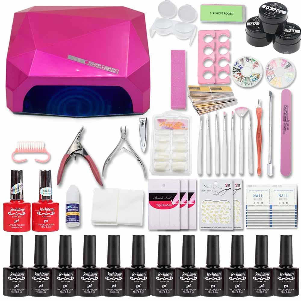 12/36 color Nail Set 36/48W LED Lamp gel top gel base coat nail art polish gel manicure set uv gel polish nail tools set