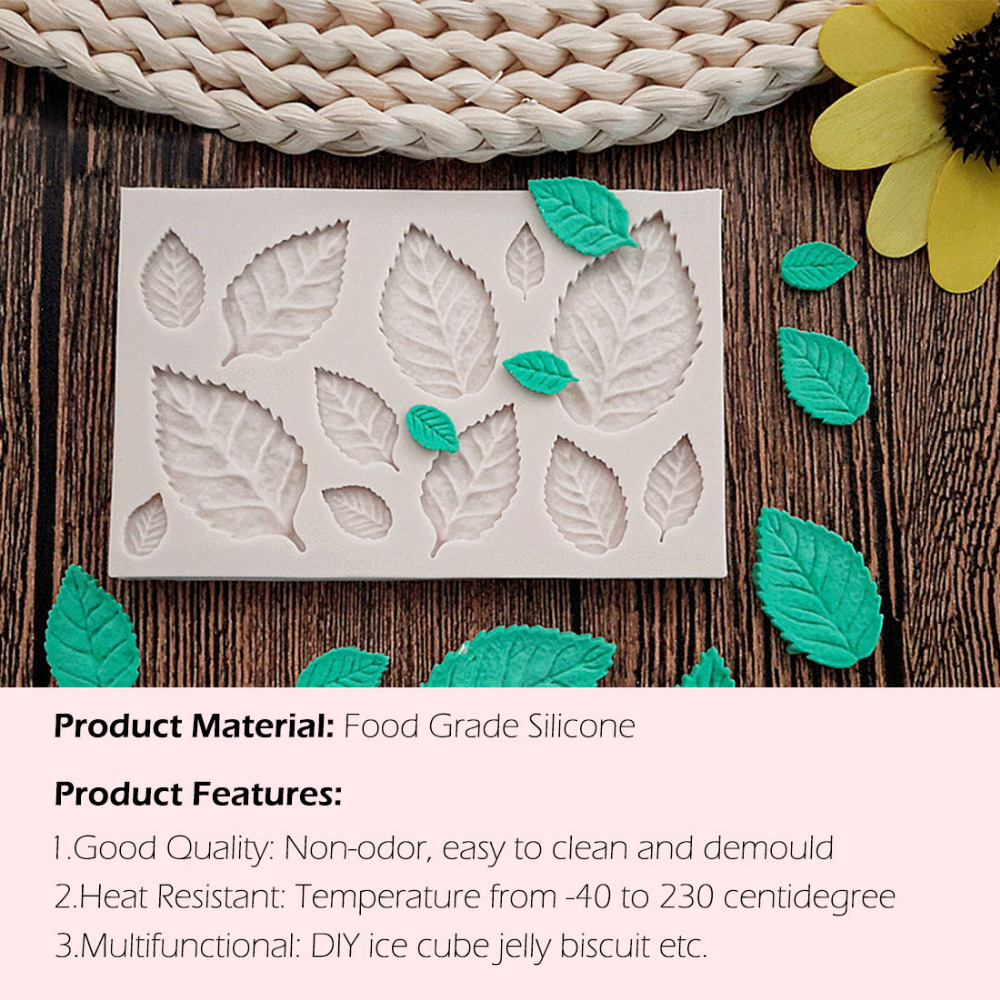 Silicone Mould Cake Decorating Tools DIY Tree leaf Press Molding Foil Mold Silicone Mold Cake Decor Fondant Cake 3D Leaves ...