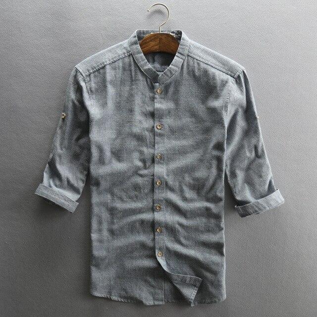 df6e9f4b611 2018 Mens Half Sleeve Casual Shirts Cotton Linen Material Cool Short Sleeved  Shirt Slim Fit Hemp Flax Clothing Camisa Masculina