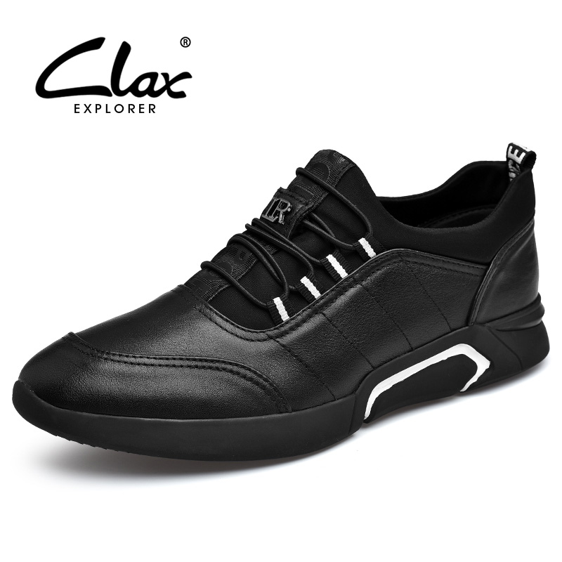 CLAX Mens Casual Shoes PU Leather Sneakers Spring Autumn Black Men Walking Footwear Breathable Fashion chaussure