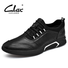 CLAX Mens Casual Shoes PU Leather Sneakers Spring Autumn Black Men Walking Footwear Breathable Fashion chaussure homme Plus Size
