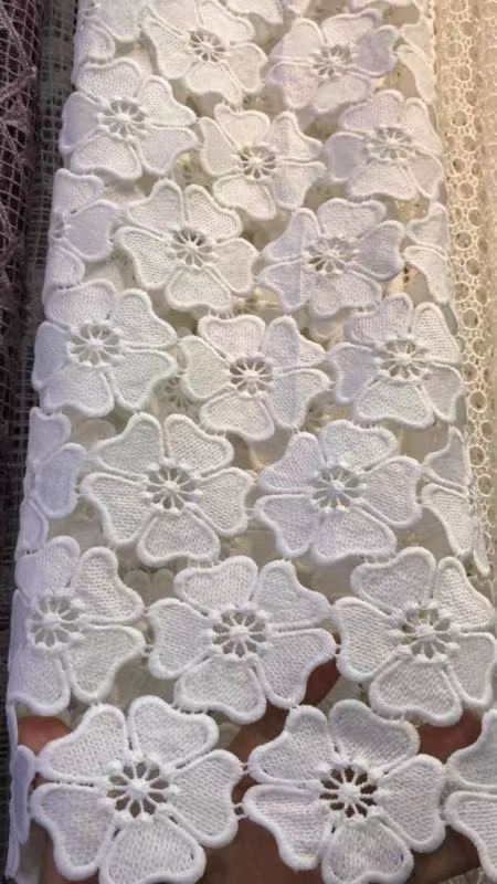 2 yards off white lace fabric crocheted lace fabric with flowers