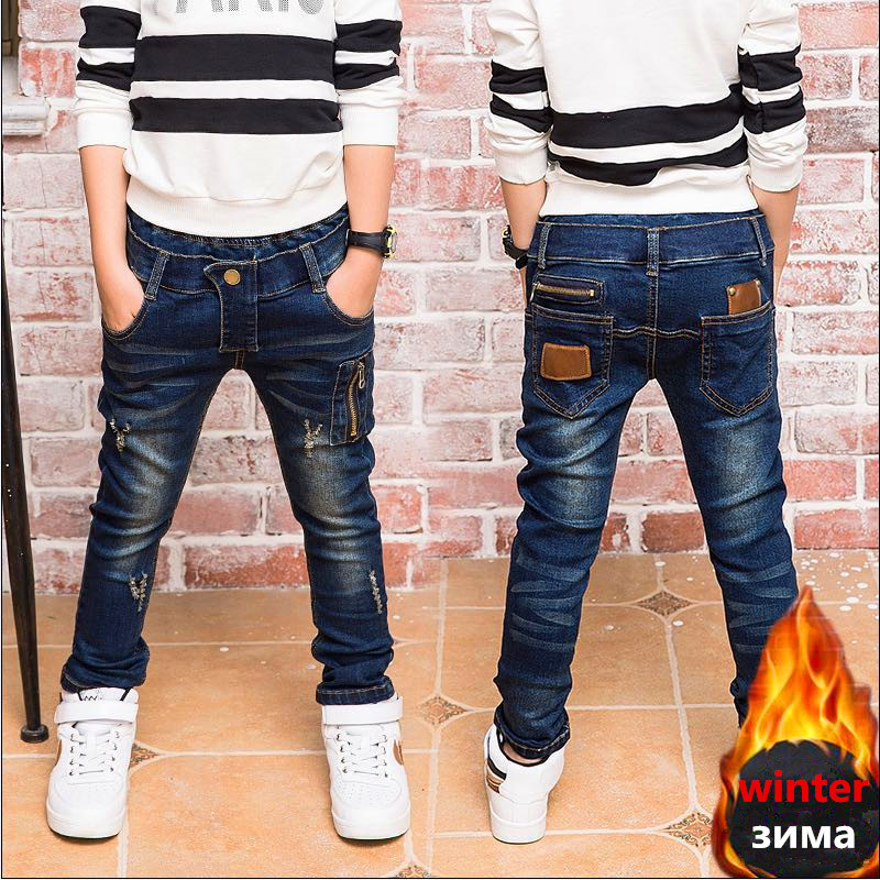 Hot Sale Autumn Winter Boy winter jeans,In the cold winter Children winter warm jeans for: 3 4 <font><b>5</b></font> 6 7 8 <font><b>9</b></font> 10 <font><b>11</b></font> 12 13 14 years. image