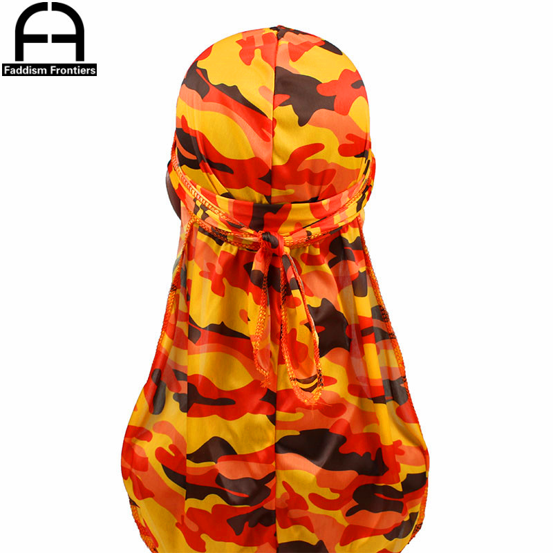 Fashion Camo Men's Silky Durags Turban Print Men Silk Durag   Headwear   Bandans Headband Hair Accessories Pirate Hat Waves Rags
