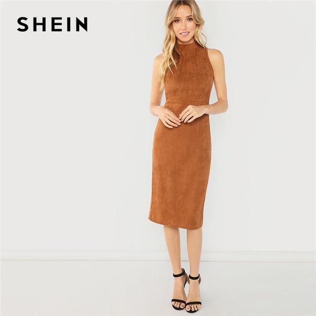 SHEIN Brown Office Lady Elegant Sleeveless Solid Stand Collar Natural Waist  Pencil Dress 2018 Summer Minimalist Women Dresses f9172a71c8b5