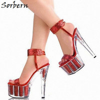 Sorbern Sexy Glitter Party Sandals High Heels Ankle Straps Open Toe Clear Platform 15Cm Spike Heels