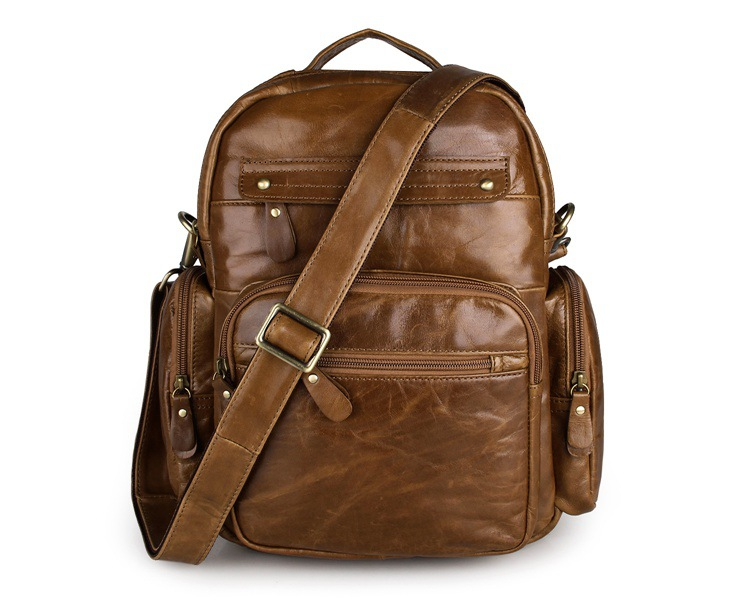 Фото Top Grade First Layer Cow Genuine Leather Backpack Men Laptop Bag Vintage Oil Wax Leather Backpack Women Unisex Travel Tote 2751