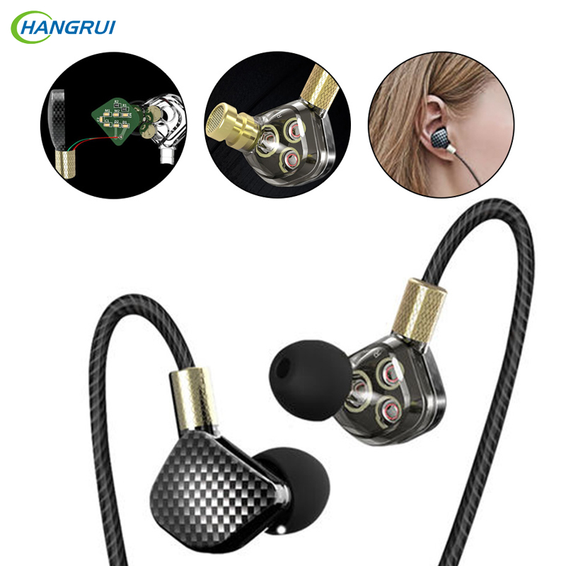 HANGRUI P8 Six Dynamic Driver System HIFI Bass Earphone In-Ear Stereo Subwoofer Headset Sports Monitor Earbuds fone de ouvido 2017 new six dynamic bass ear hifi earbuds earphone for mobile phone universal yinjw p8 magic song