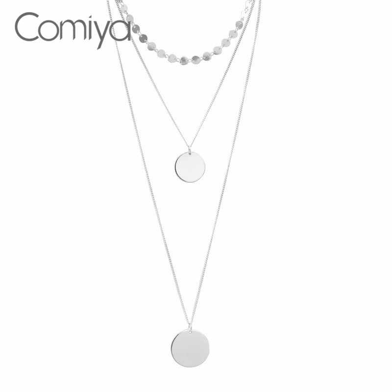 Comiya Boho Fashion Necklaces For Women Silver Color Zinc Alloy Long Necklace Two Layers Accessories Bisuteria Mujer Wholesale