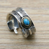 S925 Sterling Silver Thai Silver Retro Ring Personalized Turquoise Jewelry Feather Couple Ring