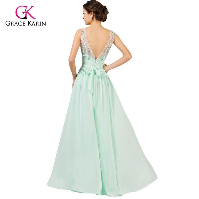 Light Mint Green Long Chiffon Bridesmaid Dresses Under 50