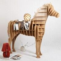Современный творческий Таблица basse большой деревянный конь Вуд Крафт для Книги по искусству Офис тематический Ресторан Гостиная исследова