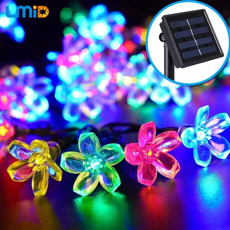 LMID Solar Garden Light Colorful Flower Blossom Outdoor Waterproof Solar Lamps Fairy Christmas Decoration String Lighting