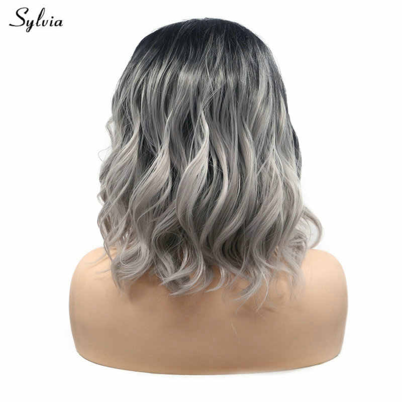 Sylvia Side Parted Handmade Lace Front Wigs For Women Cosplay Party Black Roots Ombre Gray Short Bob Synthetic Hair Natural Wave