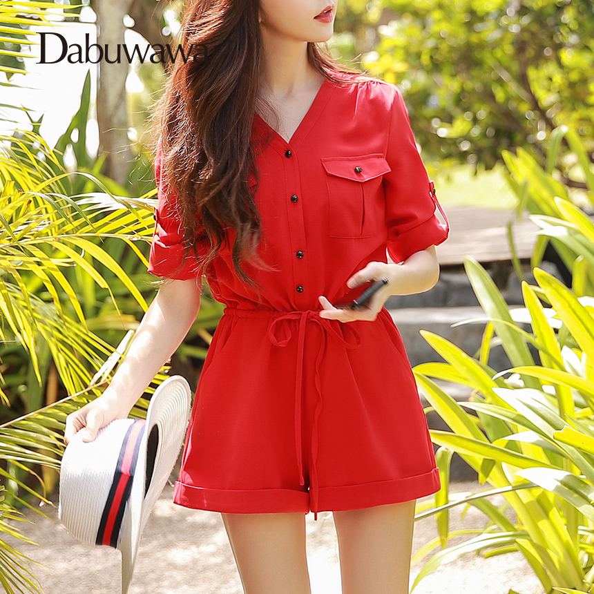 Dabuwawa Two Colors Spring Summer Vintage Rompers Womens Jumpsuit Wide Leg Sexy V Neck Jumpsuit Short