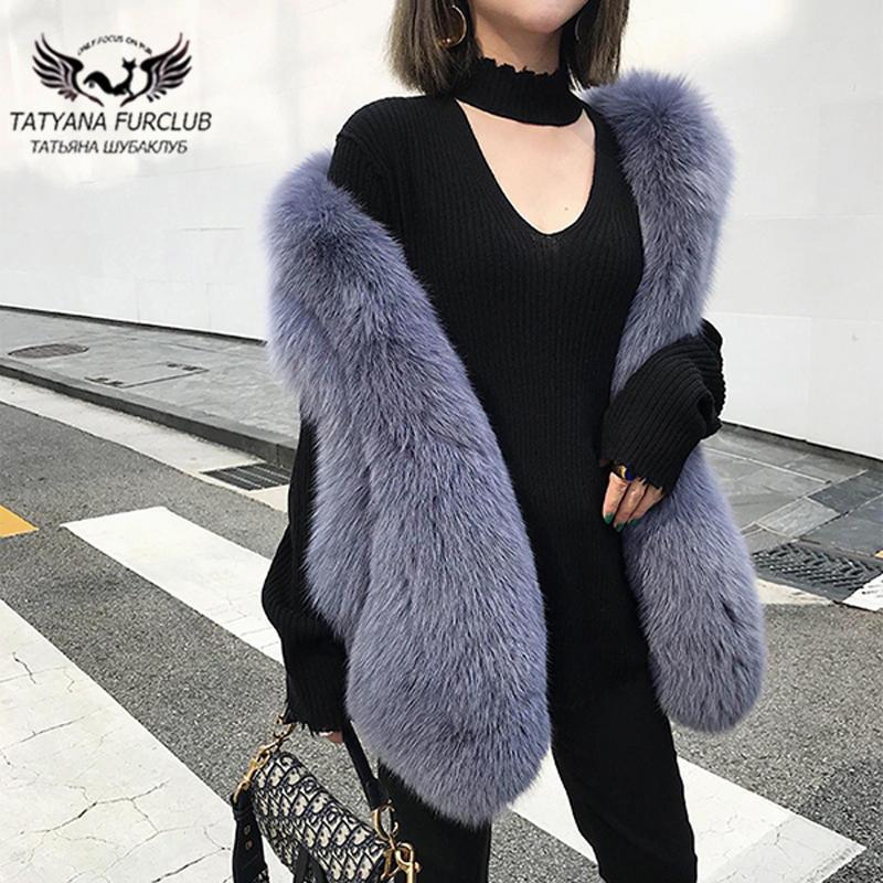 Tatyana furclub 2019 New Winter Jackets Women Long Fox Fur Vest Natural Fox Fur Tops Fashion High Street Style Casual Fur Vests
