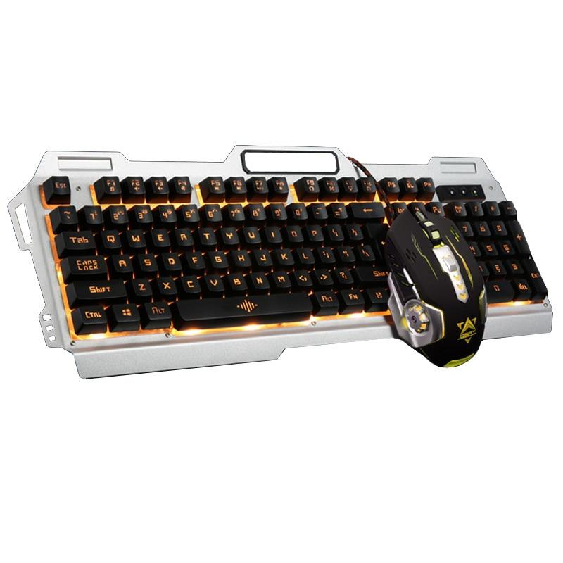 Новая Радужная желтый Подсветка Pro Gamer Gaming Keyboard 3200 Точек на дюйм 6 Пуговицы механические LED Подсветка Pro Gaming Мышь