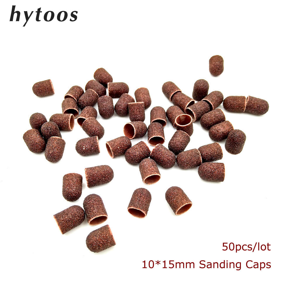 50Pcs/pack 10*15mm Textile Sanding Caps With Grip  Pedicure Care Polishing Sand Block Drill Accessories Foot Cuticle Remove Tool
