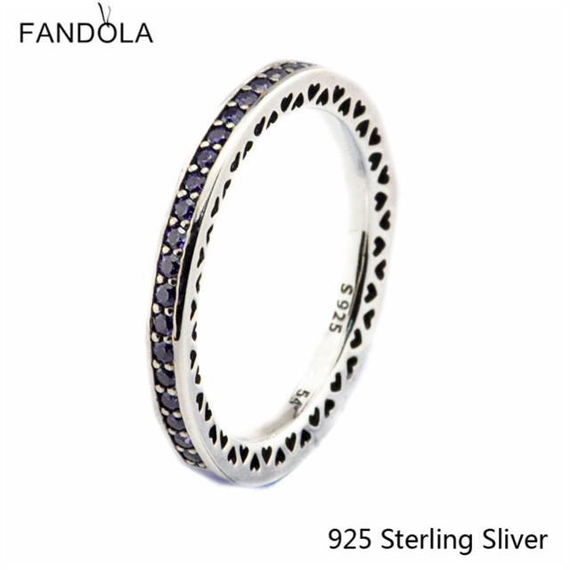 925 Sterling Silver Rings Radiant Hearts Lavender Enamel Compatible With European Style Jewelry Original DIY Charms CKK