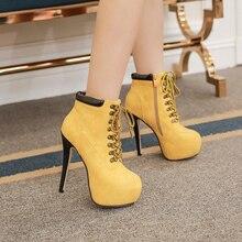 ใหม่เซ็กซี่รองเท้าส้นสูงผู้หญิงบู๊ทส์lace upแพลตฟอร์มฤดูใบไม้ร่วงรองเท้าแฟชั่นผู้หญิงผู้หญิงส้นกริชรองเท้าข้อเท้าหญิงสั้นรองเท้า