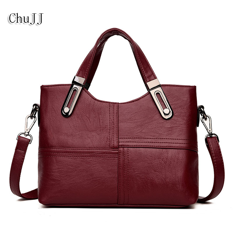 Chu JJ Fashion Women Genuine Leather Handbags OL Style Tote Bag Ladies Shoulder Bags Patchwork Women Messenger Bags Wholesale
