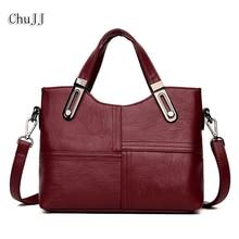 Chu JJ Fashion Women Genuine Leather Handbags OL Style Tote Bag Ladies Shoulder Bags Patchwork Women
