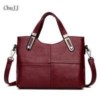 Chu JJ Fashion Women Genuine Leather Handbags OL Style Tote Bag Ladies Shoulder Bags Patchwork Women Messenger Bags Wholesale