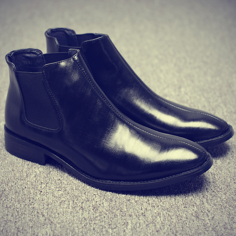 Misalwa printemps hiver fourrure hommes Chelsea bottes en cuir chaussures décontractées hommes Style britannique sans lacet robe de mariée botte courte pour homme - 4