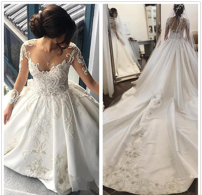 Royal Wedding Ball Gown: Luxury Beads Lace Ball Gown Satin Wedding Dress Royal