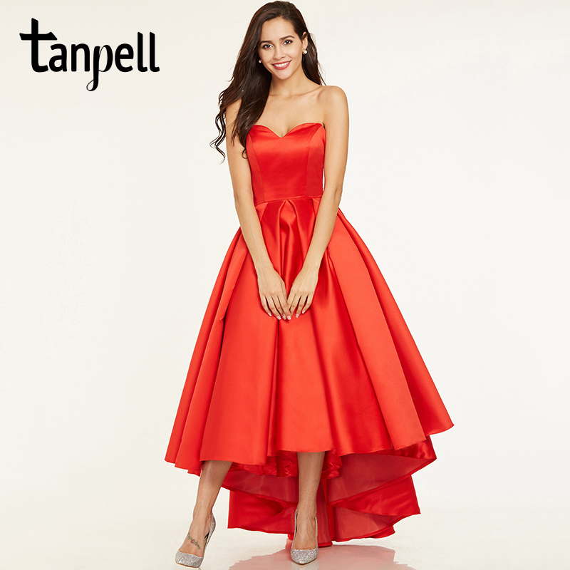 Tanpell Sweetheart Neck Prom Dresses Red Sleeveless Ruched A Line