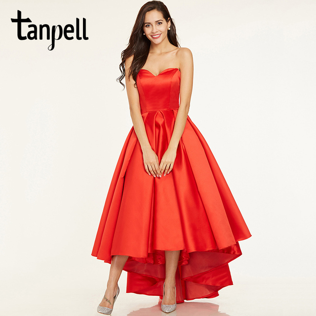 Tanpell sweetheart neck prom dresses red sleeveless ruched a line dresses  cheap women asymmetry evening formal long prom dress 7b91184ba46c