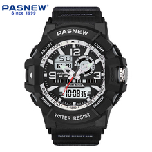 PASNEW Men's Casual outdoor Sports wrist watch Waterproof 30M analog digital watch with Japan movement PSE-452